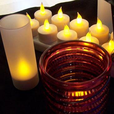 Plateau 12 bougies LED jaunes rechargeables