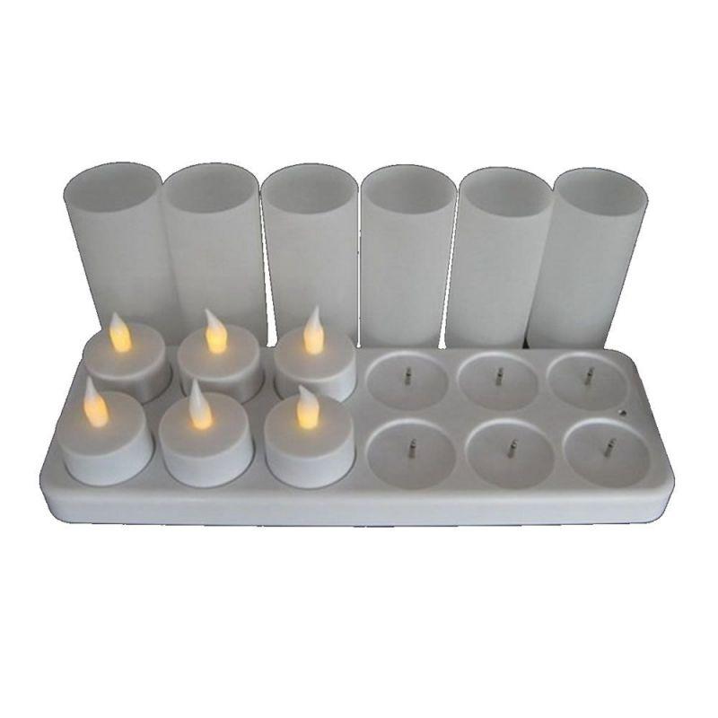 plateau 12 bougies led jaunes rechargeables lux et d co. Black Bedroom Furniture Sets. Home Design Ideas