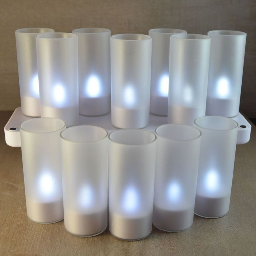 plateau 12 bougies led blanches rechargeables lux et d co. Black Bedroom Furniture Sets. Home Design Ideas
