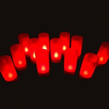 Plateau 12 bougies LED rouges rechargeables