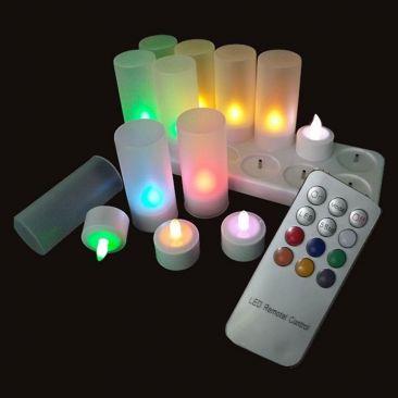 Bougie LED rechargeable couleurs avec télécommande
