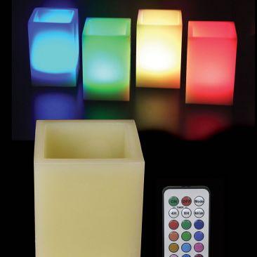 Bougie LED carrée en cire avec télécommande