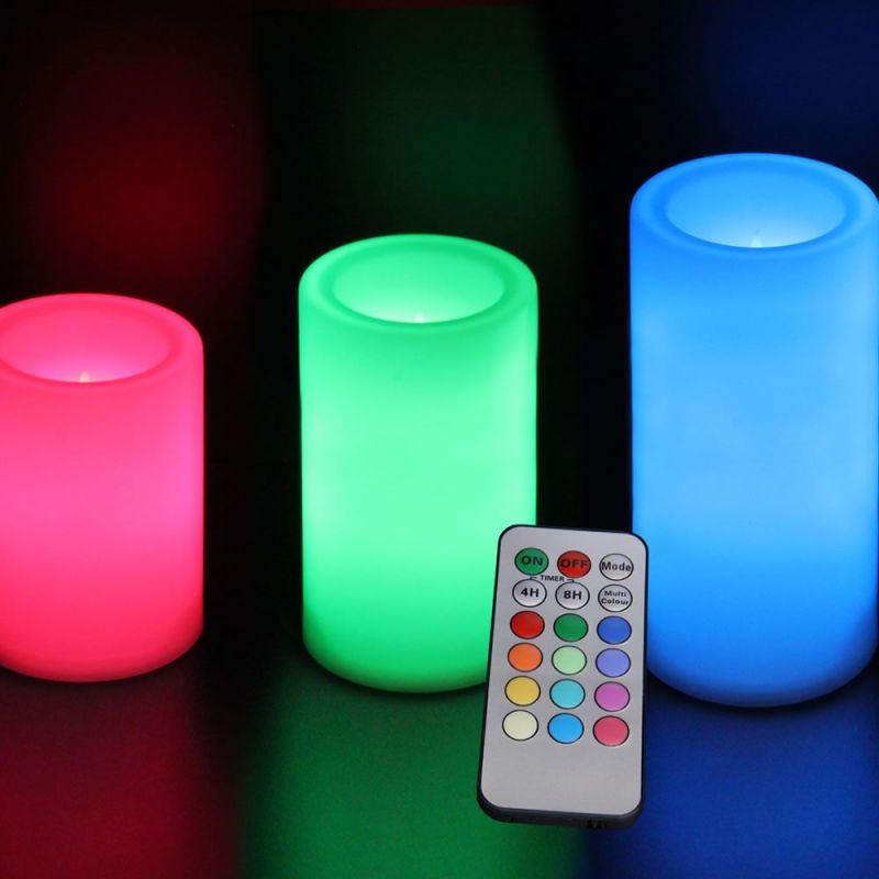 pack de 3 bougies led rondes imitation cire lux et d co. Black Bedroom Furniture Sets. Home Design Ideas