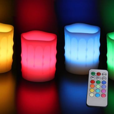 Bougie LED en cire imitation coulures