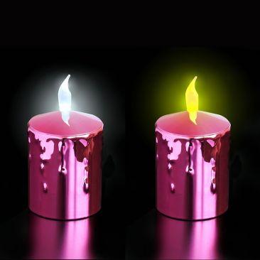 Bougies LED à piles corps rouge métallisé