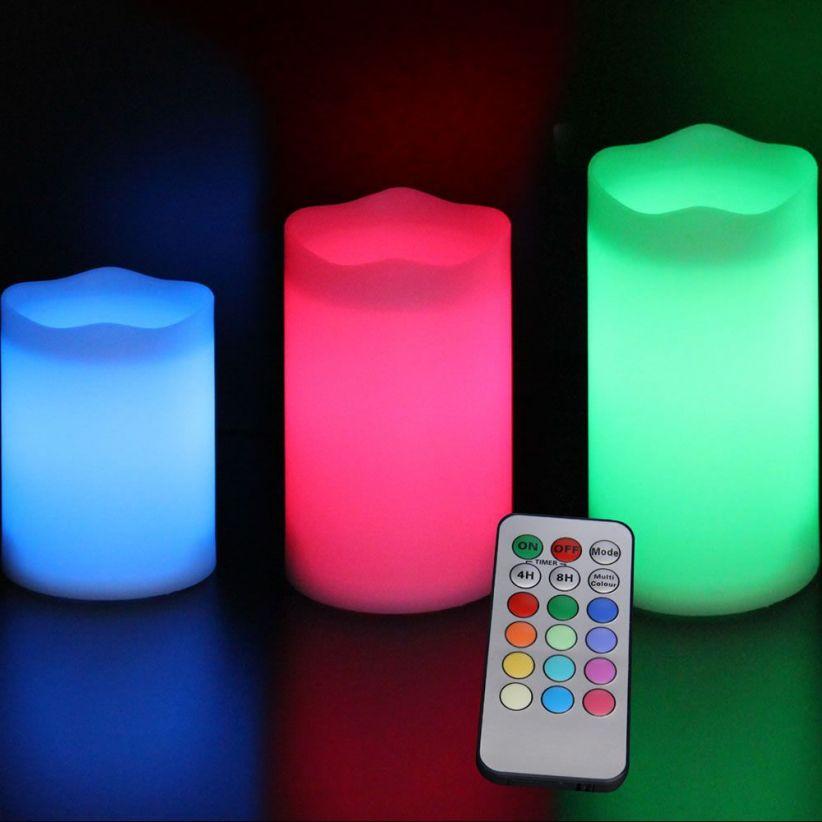 pack de 3 bougies led multi couleurs avec t l commande lux et d co. Black Bedroom Furniture Sets. Home Design Ideas
