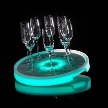 Plateau lumineux rond rechargeable