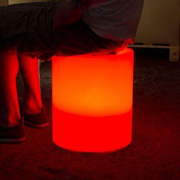 Pouf lumineux cylindre sans fil
