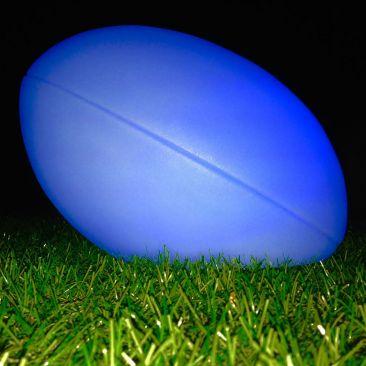 Ballon de rugby lumineux bleu