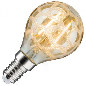 Ampoule LED globe givré doré