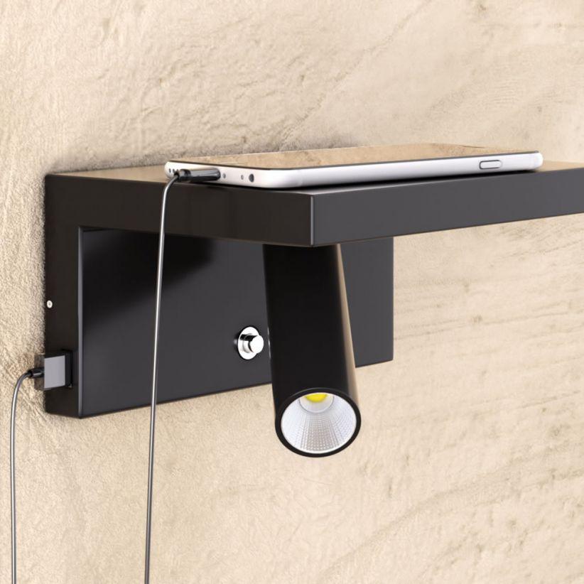 Liseuse LED sur étagère USB Beam