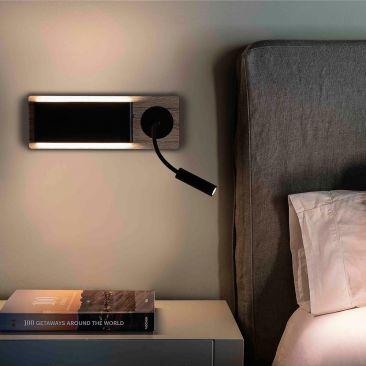 Applique LED Wood base en bois avec liseuse