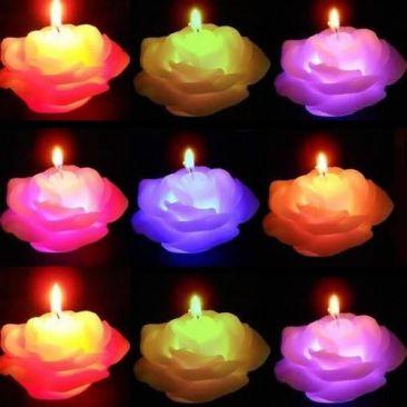 Bougie LED en cire magique rose