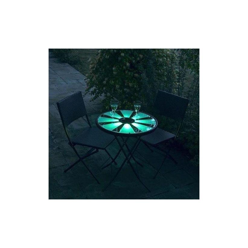 Table bistrot solaire et ses 2 chaises