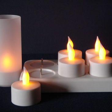 Plateau 6 bougies LED rechargeables