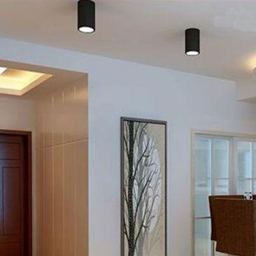 Plafonnier LED cylindre noir