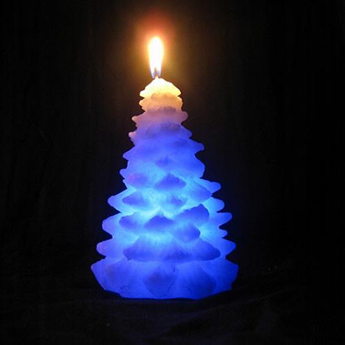 Bougie LED en cire sapin