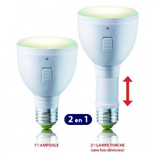 L'ampoule LED rechargeable E27 se transforme en lampe torche