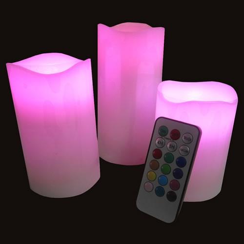 Bougie LED en cire rose