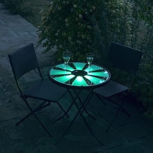 La table éclairée en vert