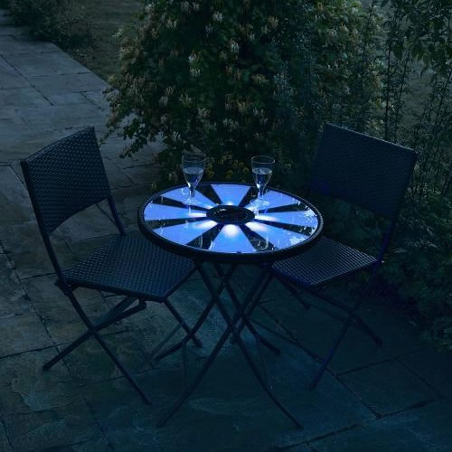 La table bistrot lumineuse en bleu