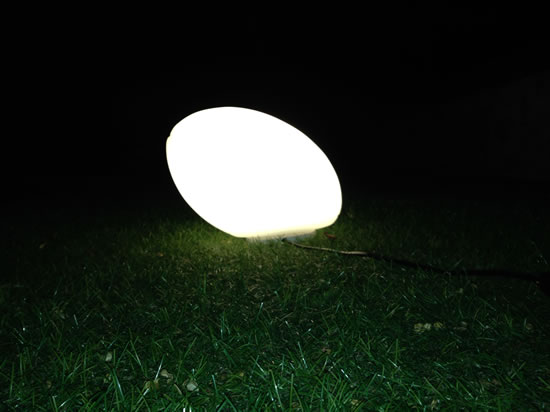 Ballon de rugby lumineux blanc