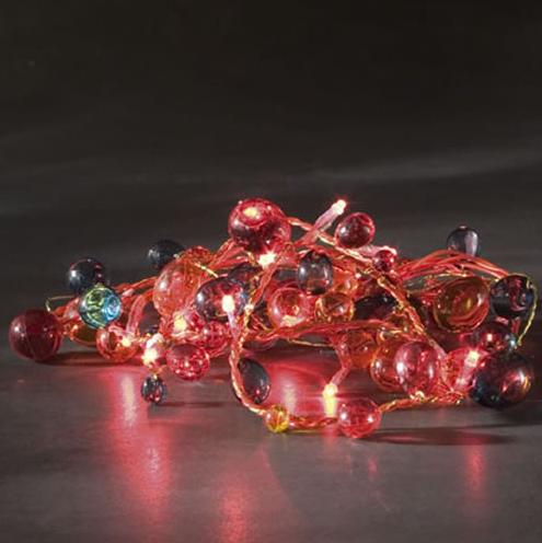 guirlande led perles rouges