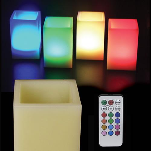 bougie led cire bougie led carr es couleurs changeantes. Black Bedroom Furniture Sets. Home Design Ideas