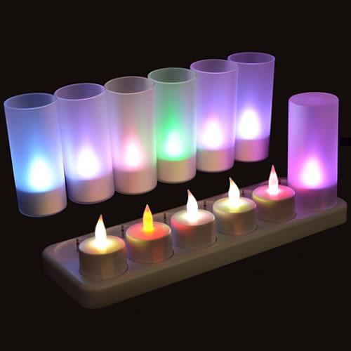 bougie led rechargeable plateau de 12 bougies couleurs changeantes. Black Bedroom Furniture Sets. Home Design Ideas
