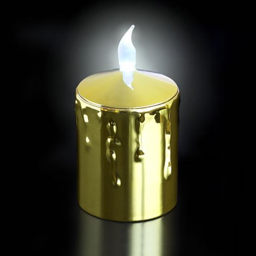 bougie led pile corps dor e imitation cire flamme blanche ou jaune. Black Bedroom Furniture Sets. Home Design Ideas