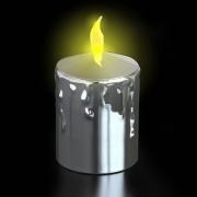 BOUGIE LED IMITATION CIRE ARGENT
