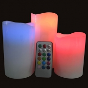 PACK DE 3 BOUGIES LED EN CIRE