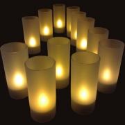 PLATEAU 12 BOUGIES LED JAUNES