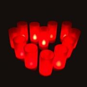 PLATEAU 12 BOUGIES LED ROUGES