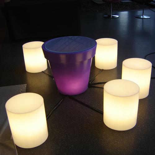 Pouf lumineux sans fil cylindre venice objets lumineux for Luminaire exterieur sans fil