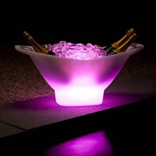 Seau à glace lumineux à LED : 4 bouteilles et recharge ...