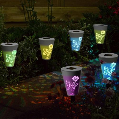 Borne led solaire pack de 6 silhouette papillon for Decoration jardin solaire